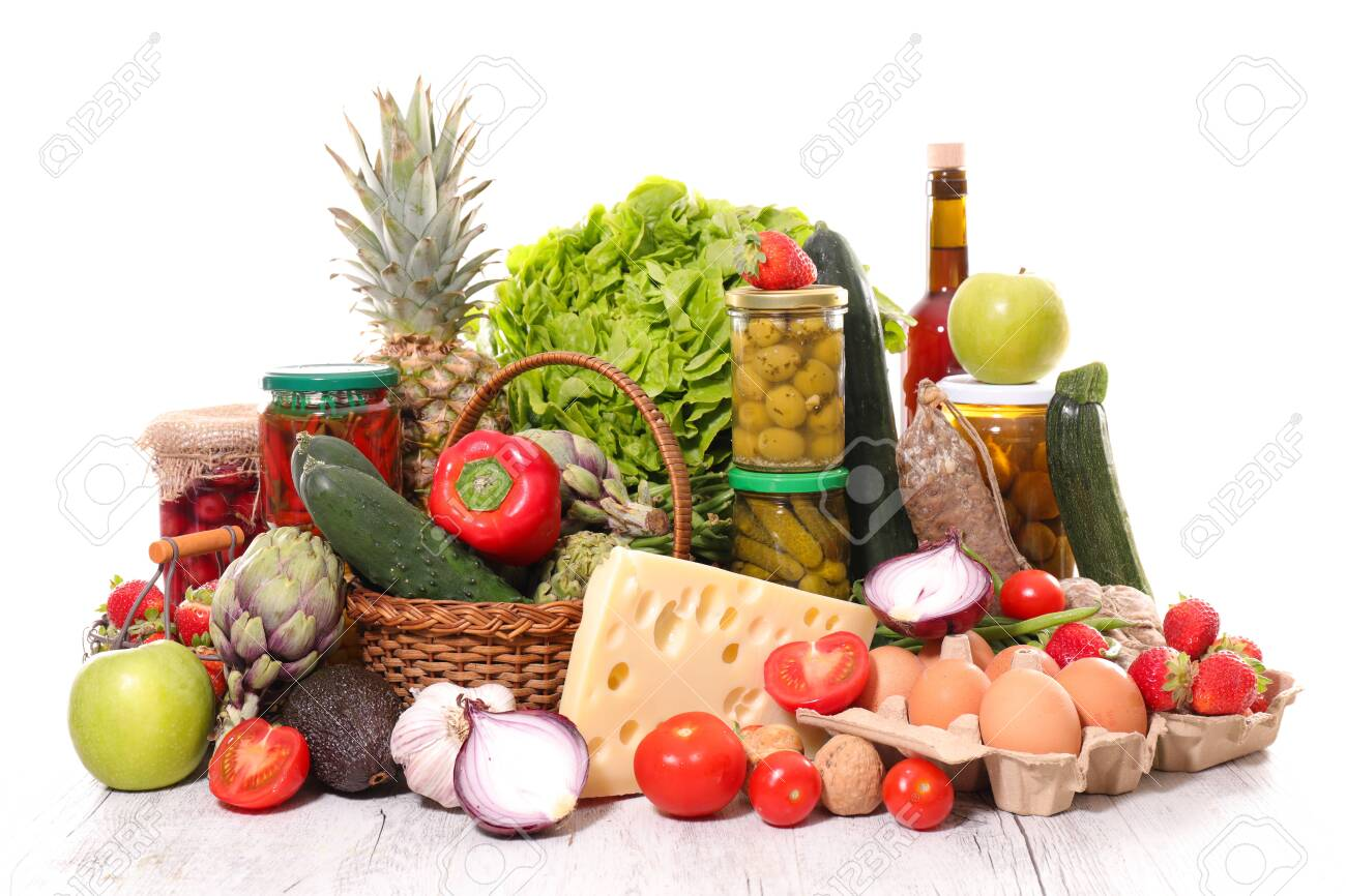 groceries assorted with vegetabke, cheese and preserve - 121378270
