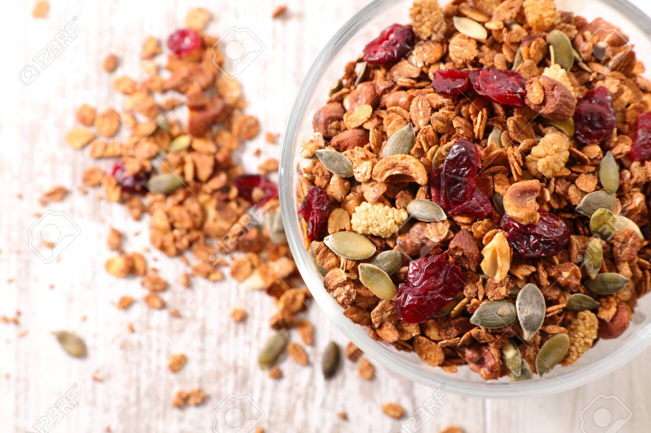 Granola With Nut Goji Berry Seed And Cereal Stock Photo Picture