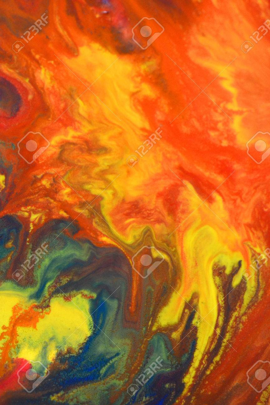 Red Green Blue Yellow Fluid Chaotic Mix Of Colors Macro Abstract