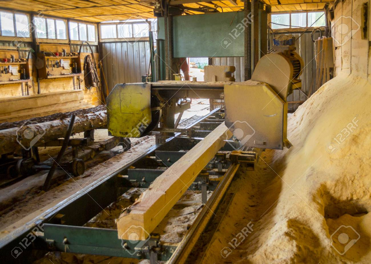 Sawmill  Process of machining logs in equipment sawmill machine