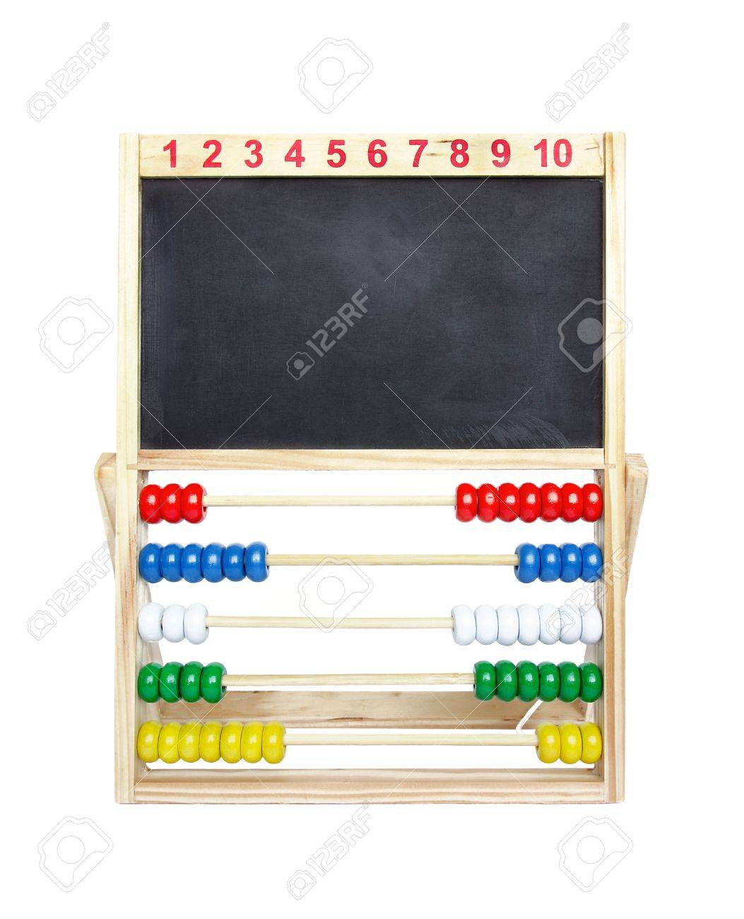 Wooden toy abacus with blank blackboard on a white background. Stock Photo - 10894540