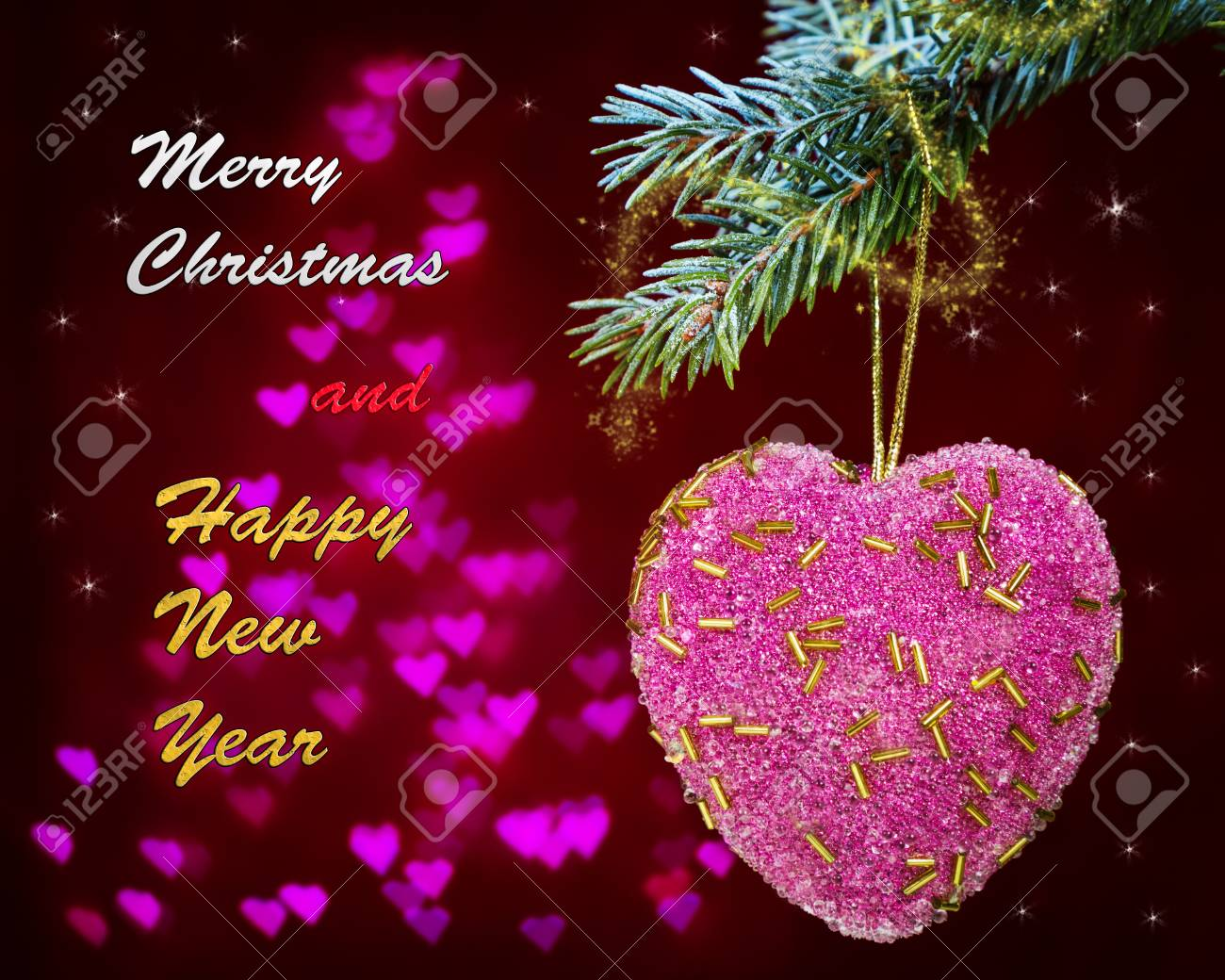 Greeting Card With Pink Heart And The Words Merry Christmas And