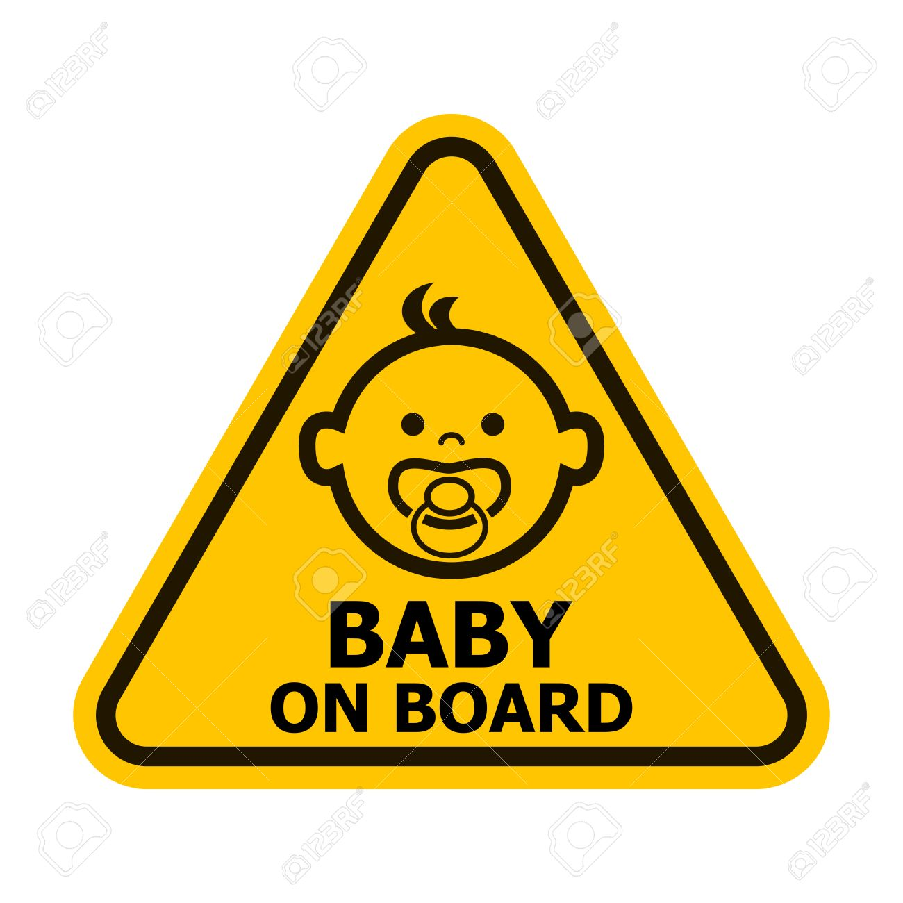 Baby on board yellow sign. Vector illustration. - 42773205