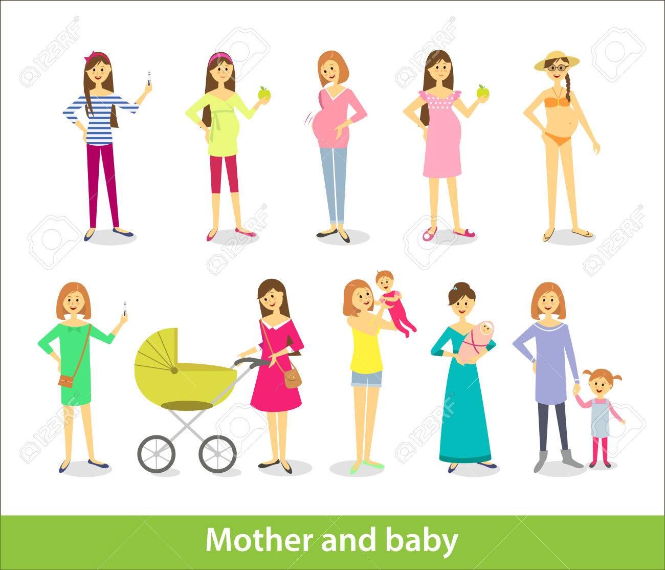 8dcb18a30 Foto de archivo - La mujer embarazada y la mujer con el bebé recién nacido