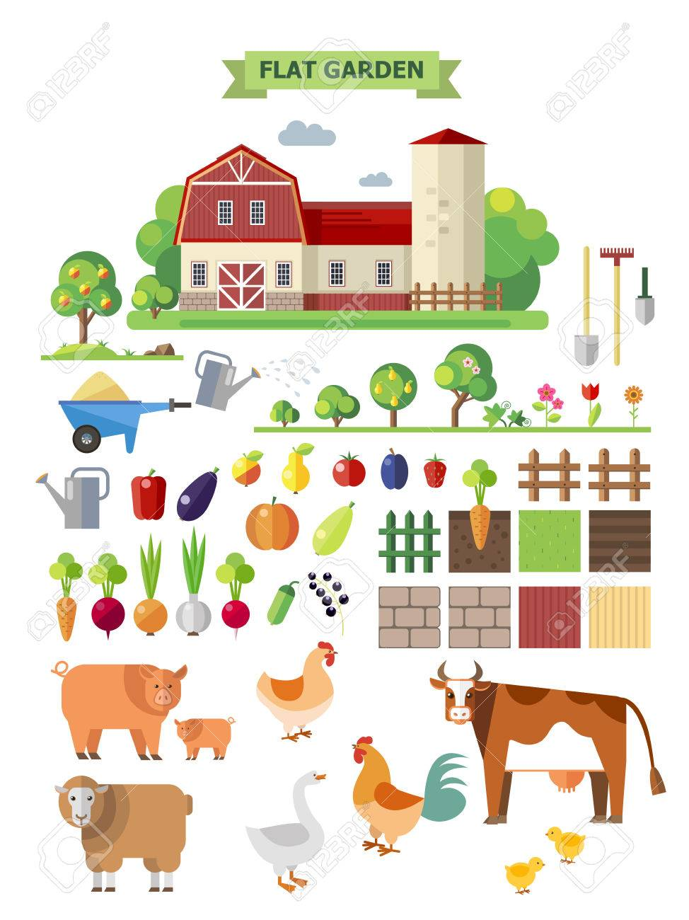 Flat farm, vector set. Elements for game: sprites and tile sets. Vegetables, fruits and farm animals Stock Vector - 43090712