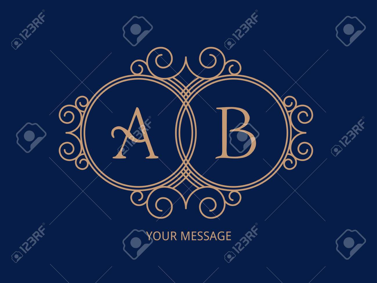 Elegant monogram for two letters. - 43853527