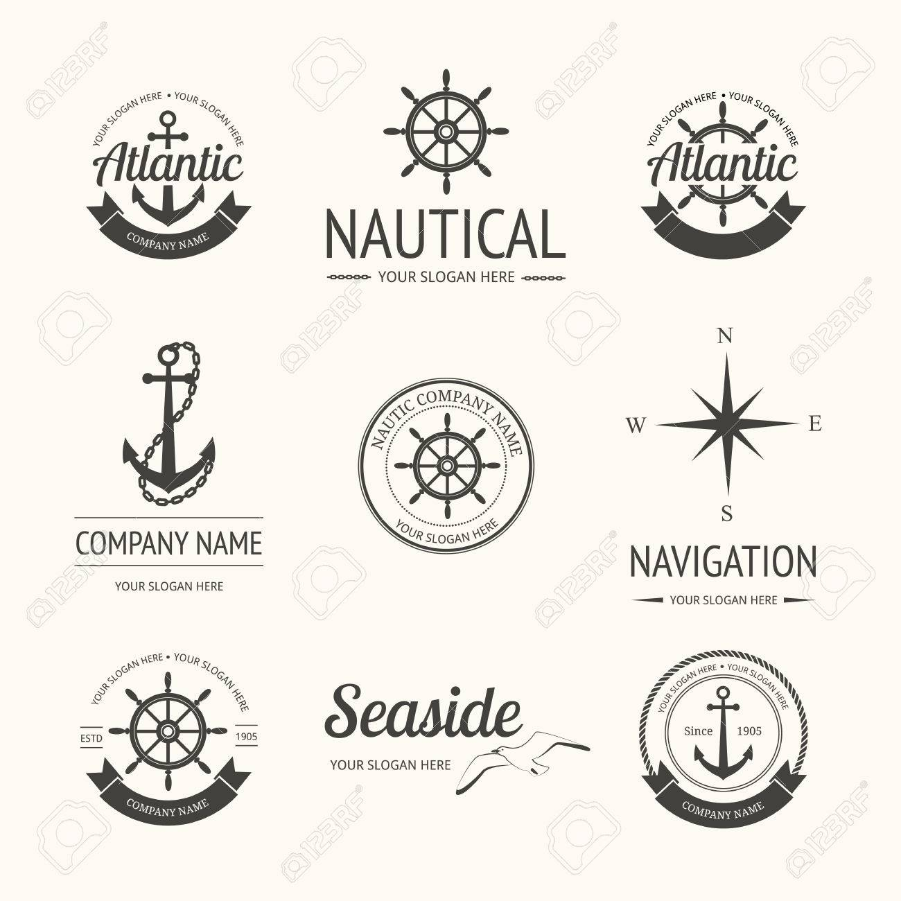 Set Of Retro Nautical Labels, Badges And Templates Royalty Free ...