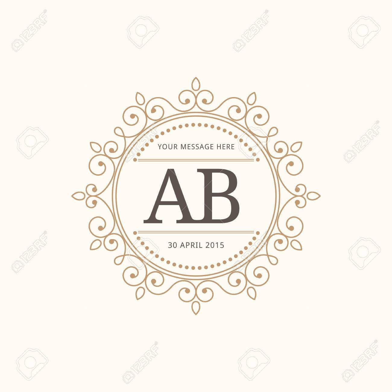Elegant Vintage Monogram Design Template For One Or Two Letters