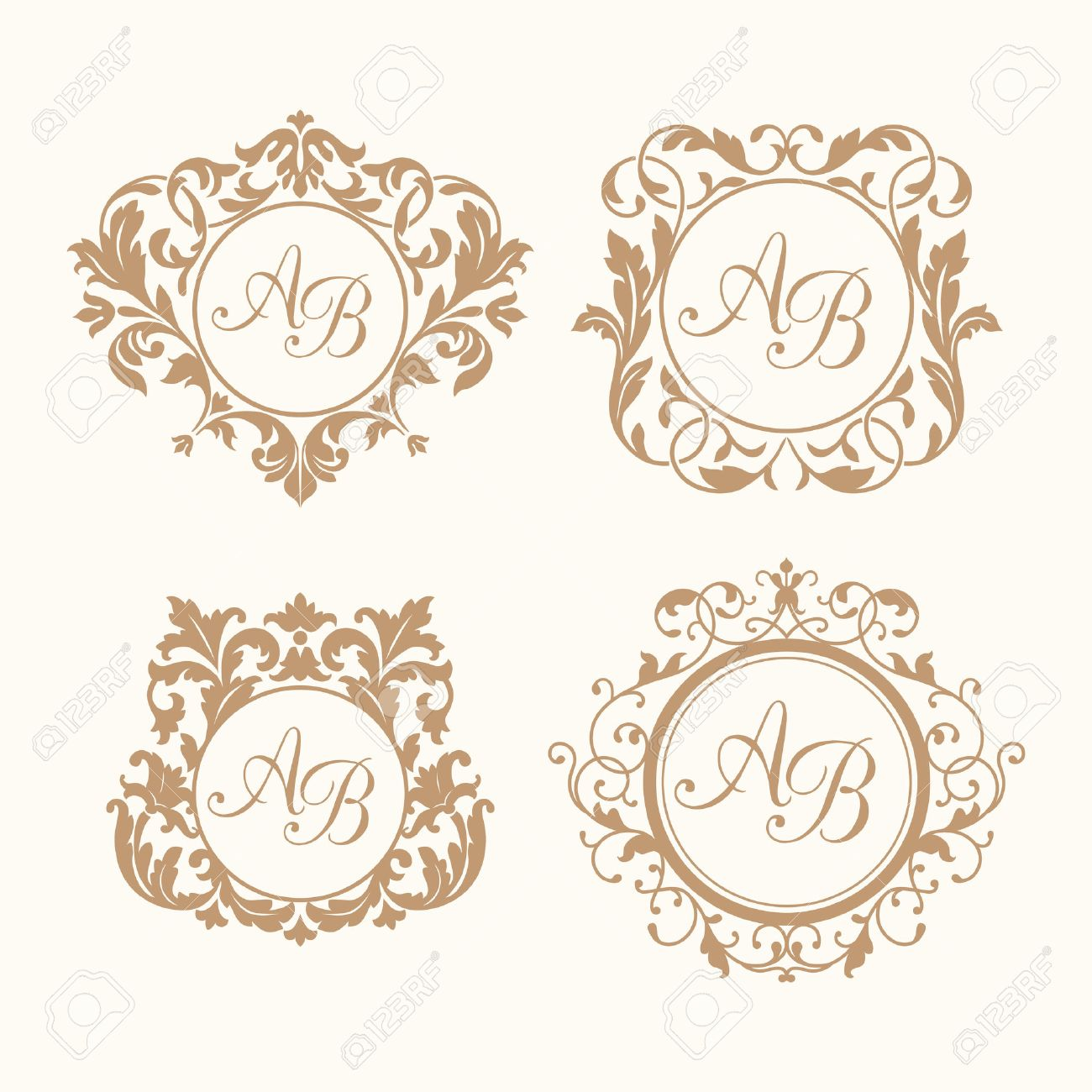 Set Of Elegant Floral Monogram Design Templates For One Or Two