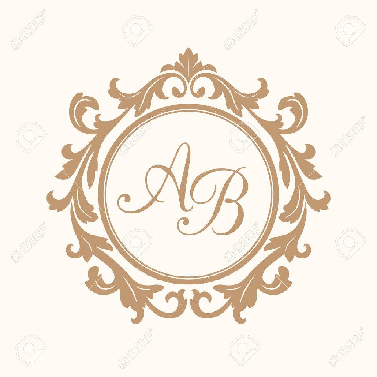 elegant floral monogram design template for one or two letters