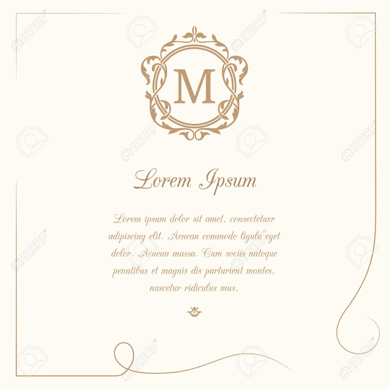 Vintage Template With Monogram And Calligraphic Frame. Wedding ...