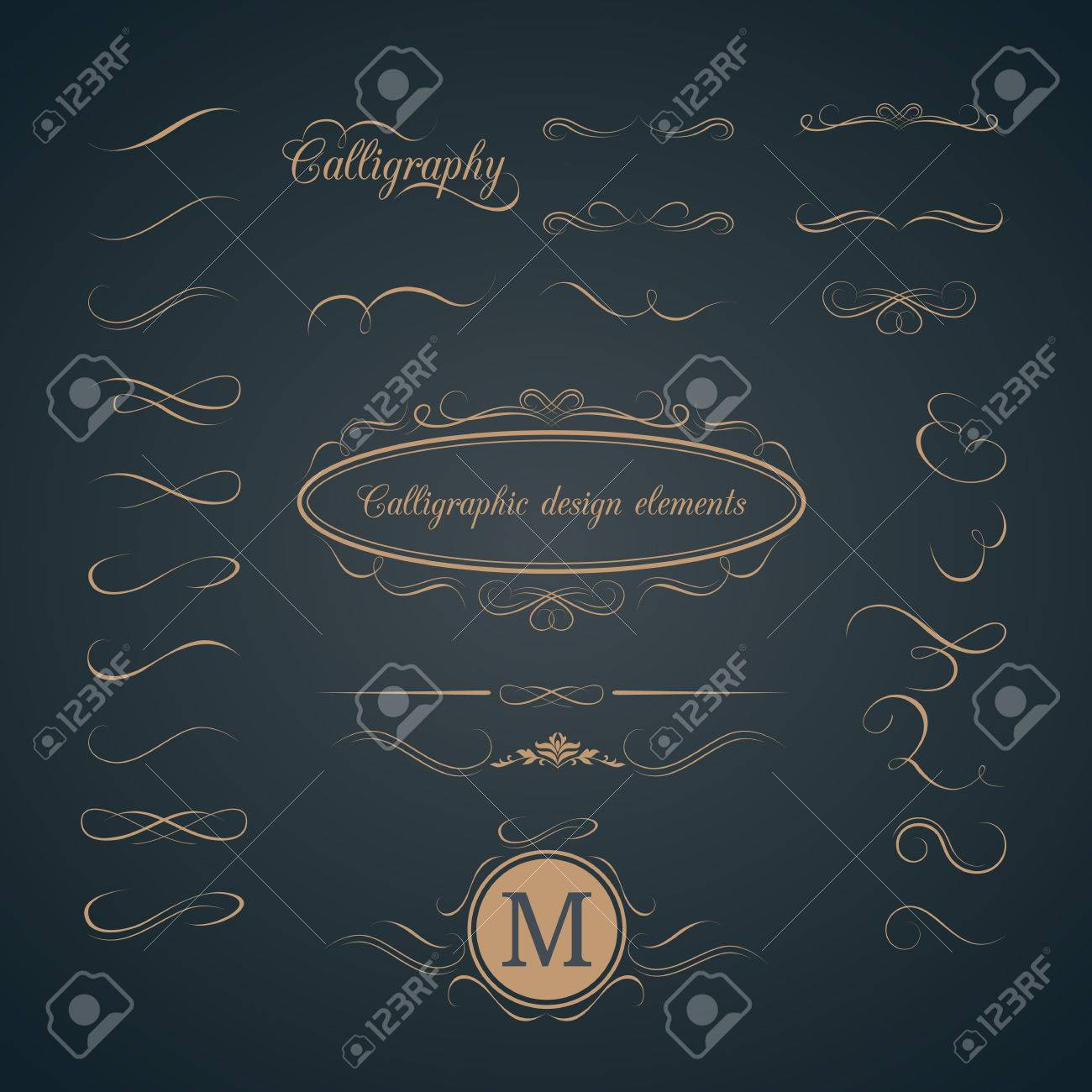 Vintage set of calligraphic design elements. Decorative elements, monogram, frame. Can be used for wedding invitation design - 51015973