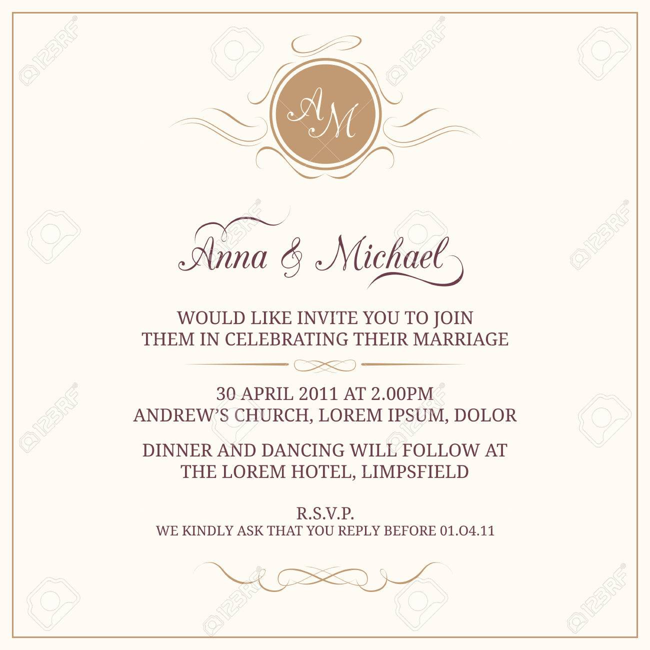 Invitation Card With Monogram Wedding Invitation Save The Date