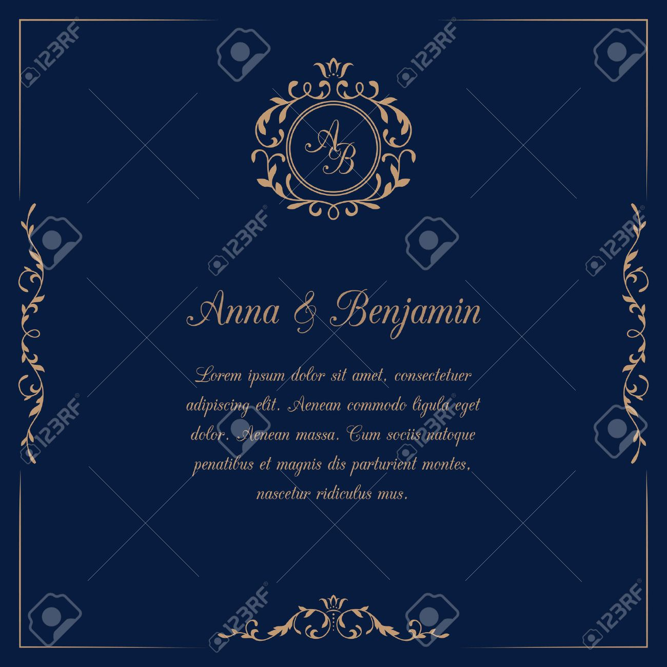 Invitation Card With Monogram On Dark Blue Background Wedding