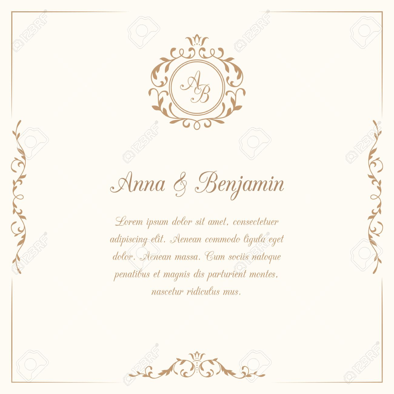 Invitation card with monogram wedding invitation save the date invitation card with monogram wedding invitation save the date vintage invitation template stopboris Image collections