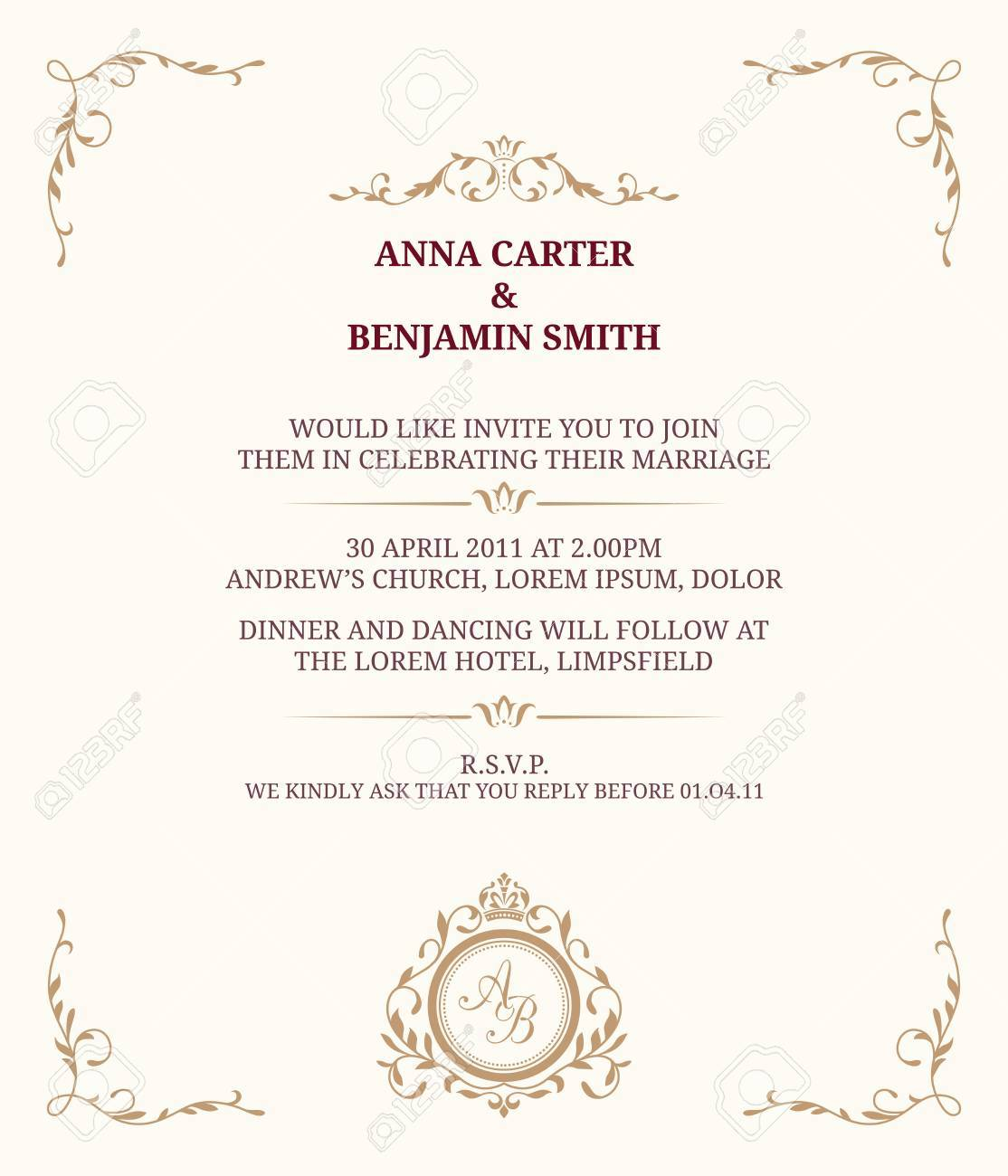 Invitation Card With Monogram Wedding Save The Date