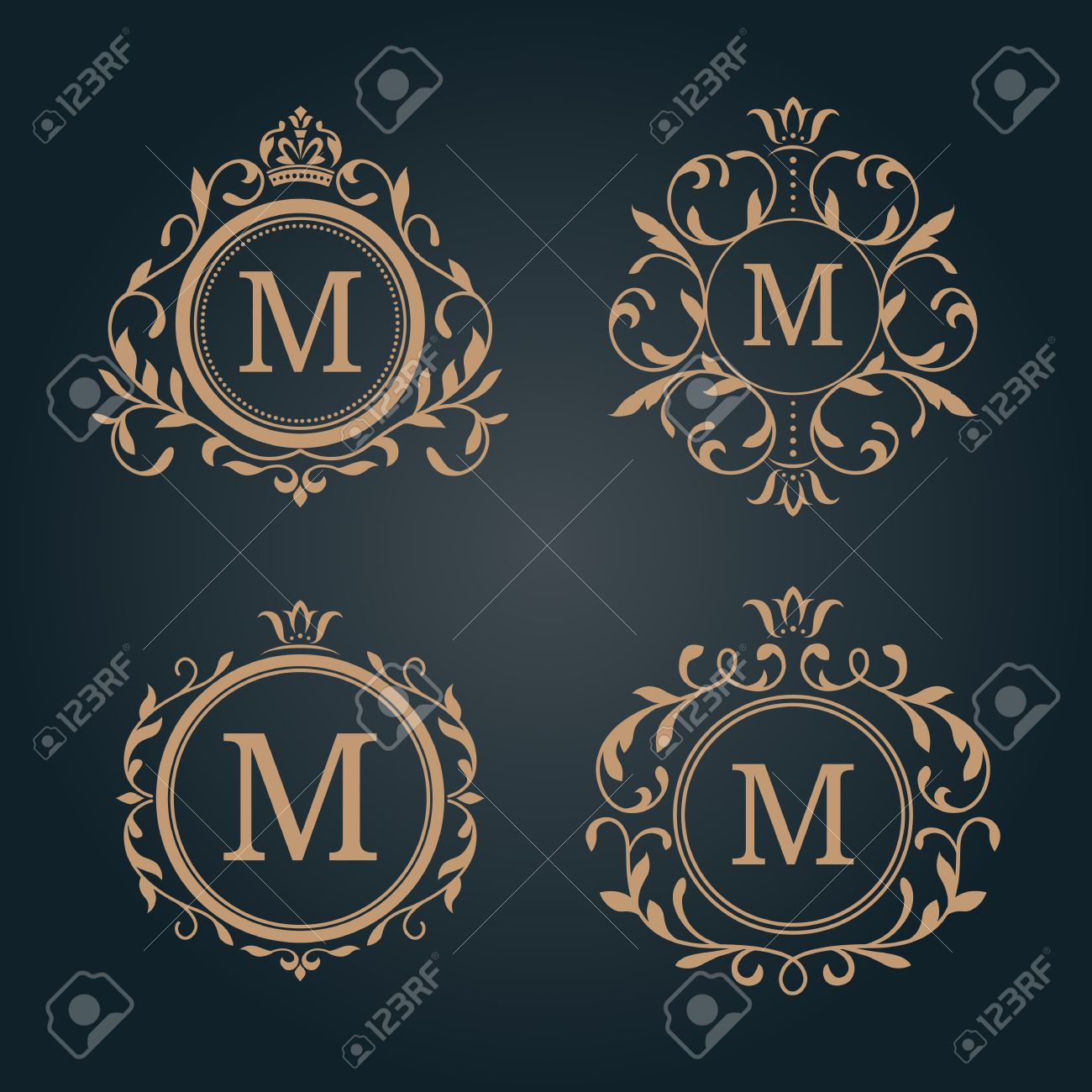 Set Of Elegant Floral Monogram Design Templates Wedding Monogram