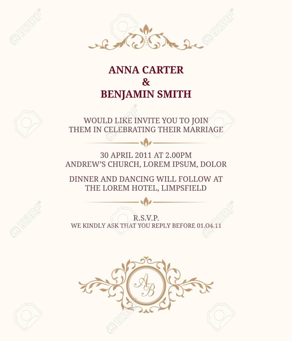 Invitation card with monogram. Wedding invitation, Save The Date. Vintage invitation template. - 57125165