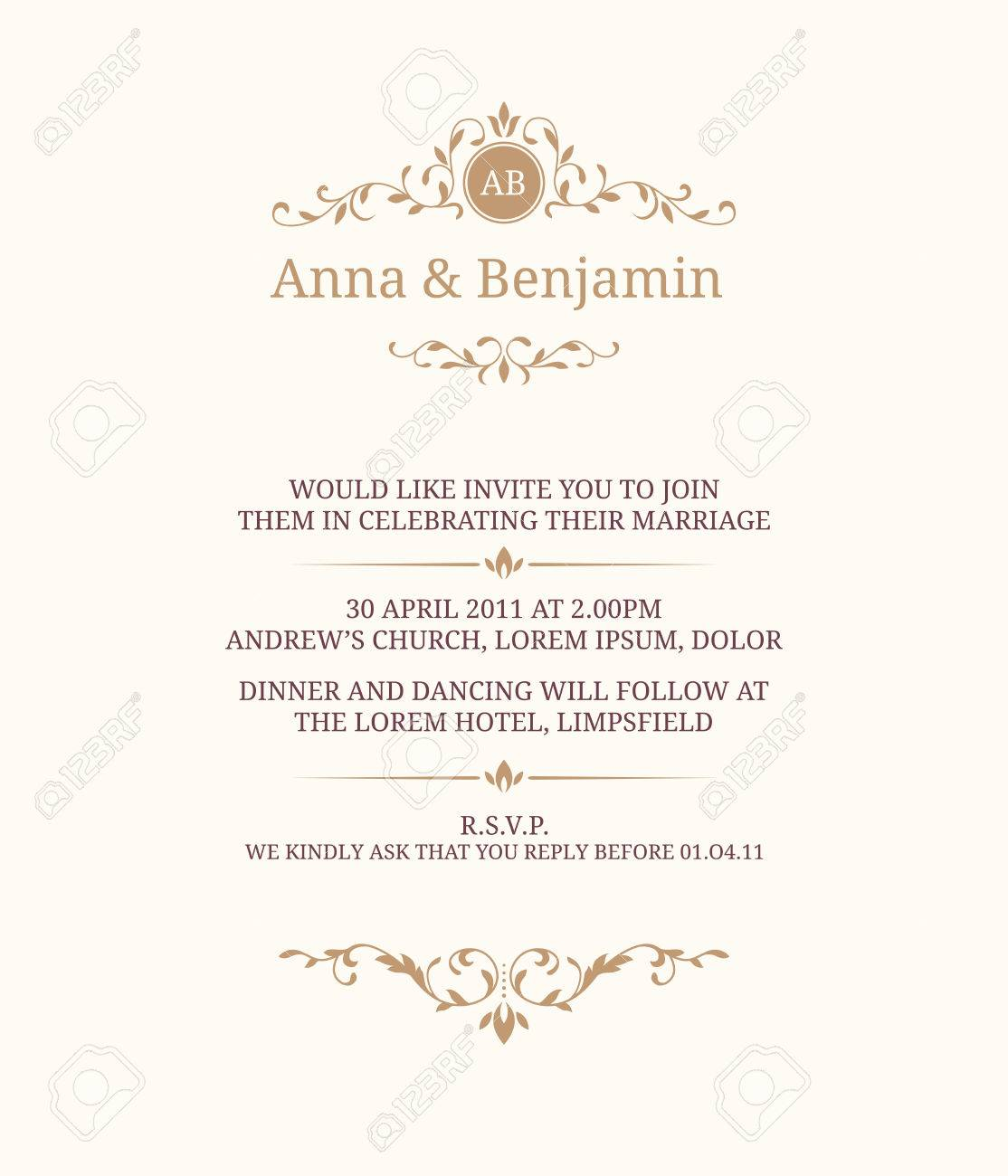 Invitation Card With Monogram. Wedding Invitation, Save The Date ...