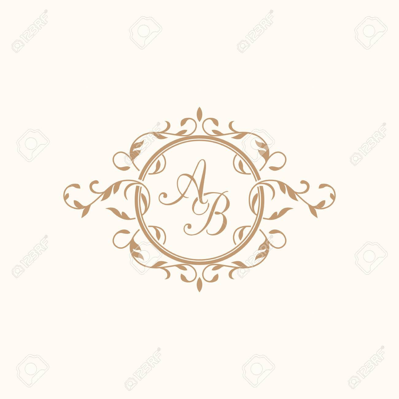 Elegant floral monogram design template for one or two letters..
