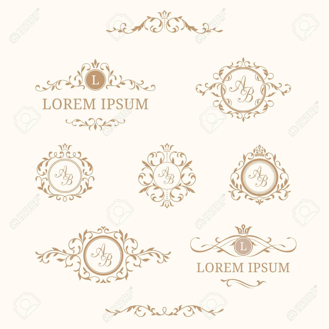 Elegant Floral Monograms And Borders Design Templates For Invitations