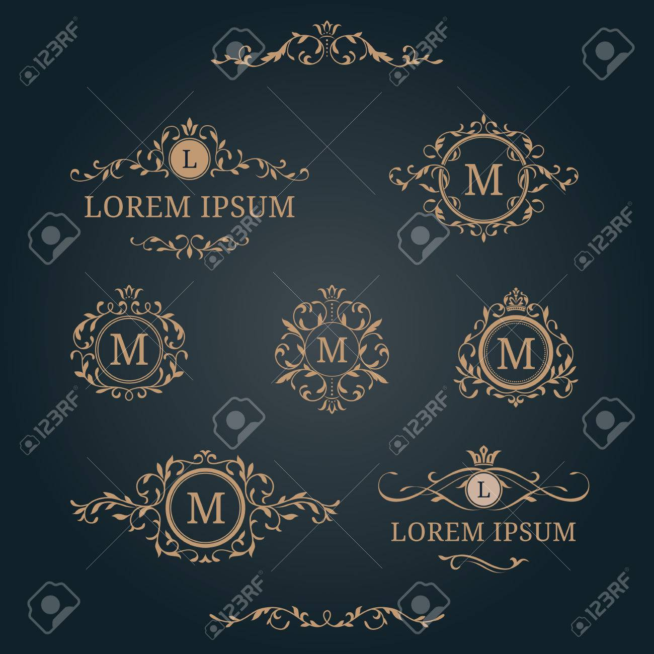 Elegant Floral Monograms And Borders. Design Templates For ...