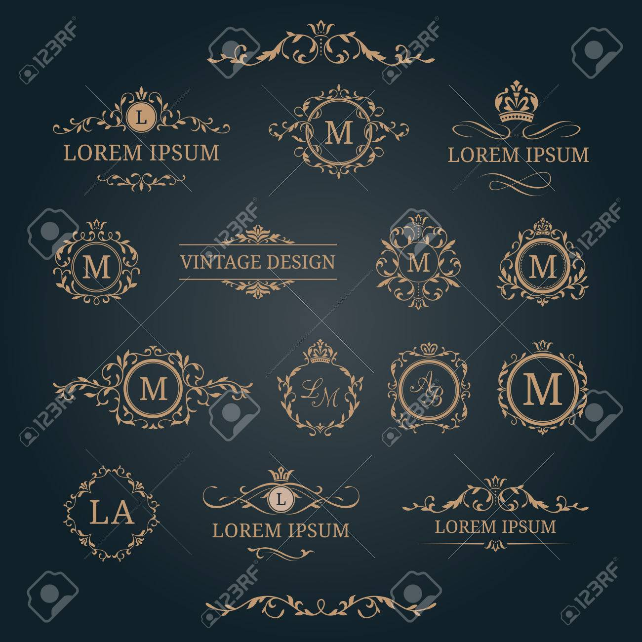 elegant floral monograms and decorative elements design templates