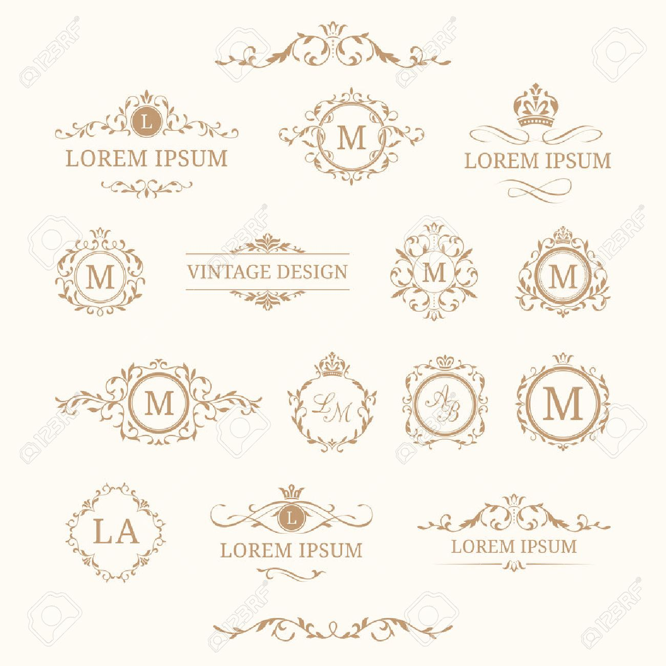 Set Of Elegant Floral Monograms And Borders. Design Templates For  Invitations, Menus, Labels