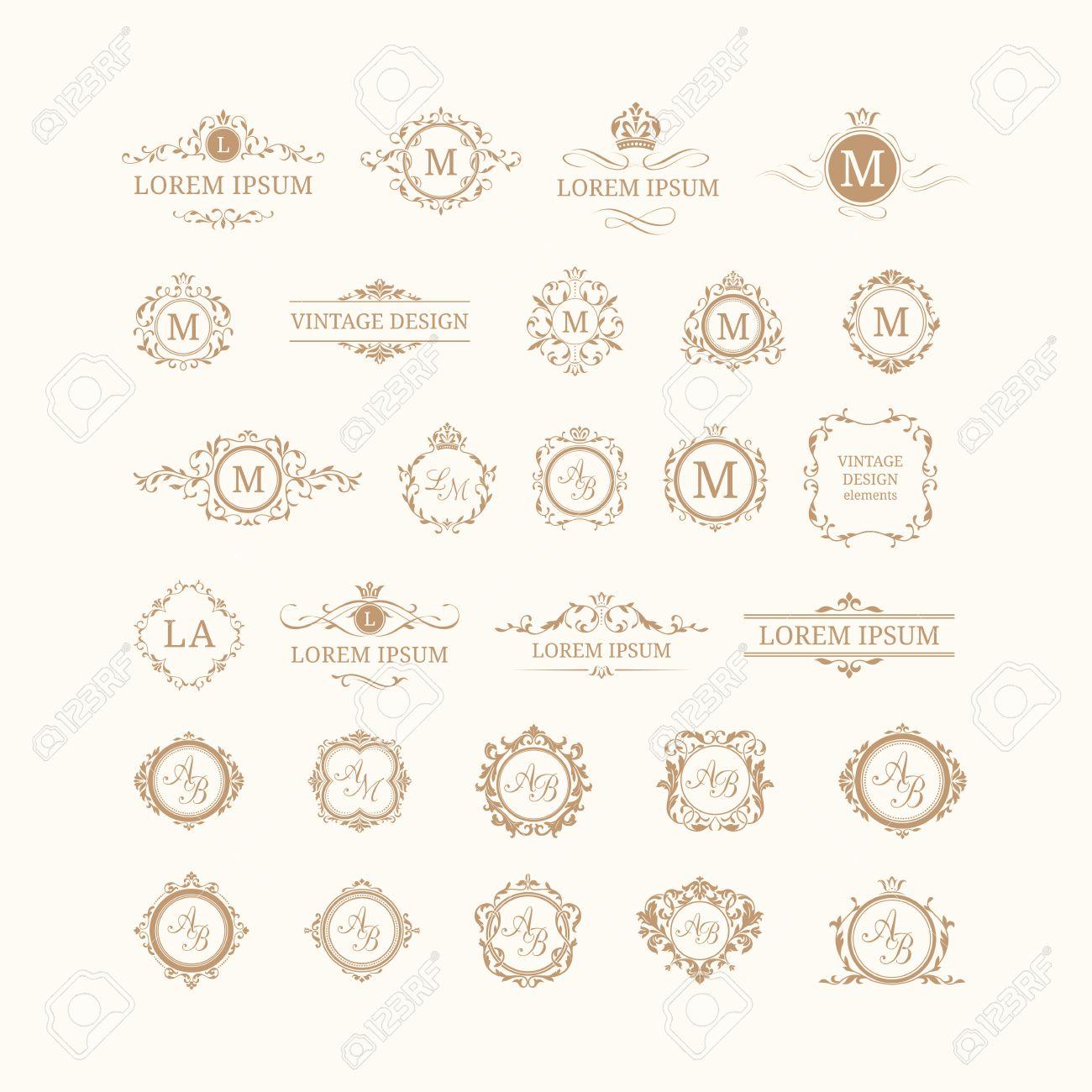 Set Elegante Blumen Monogramme Und Grenzen. Design-Vorlagen Für ...