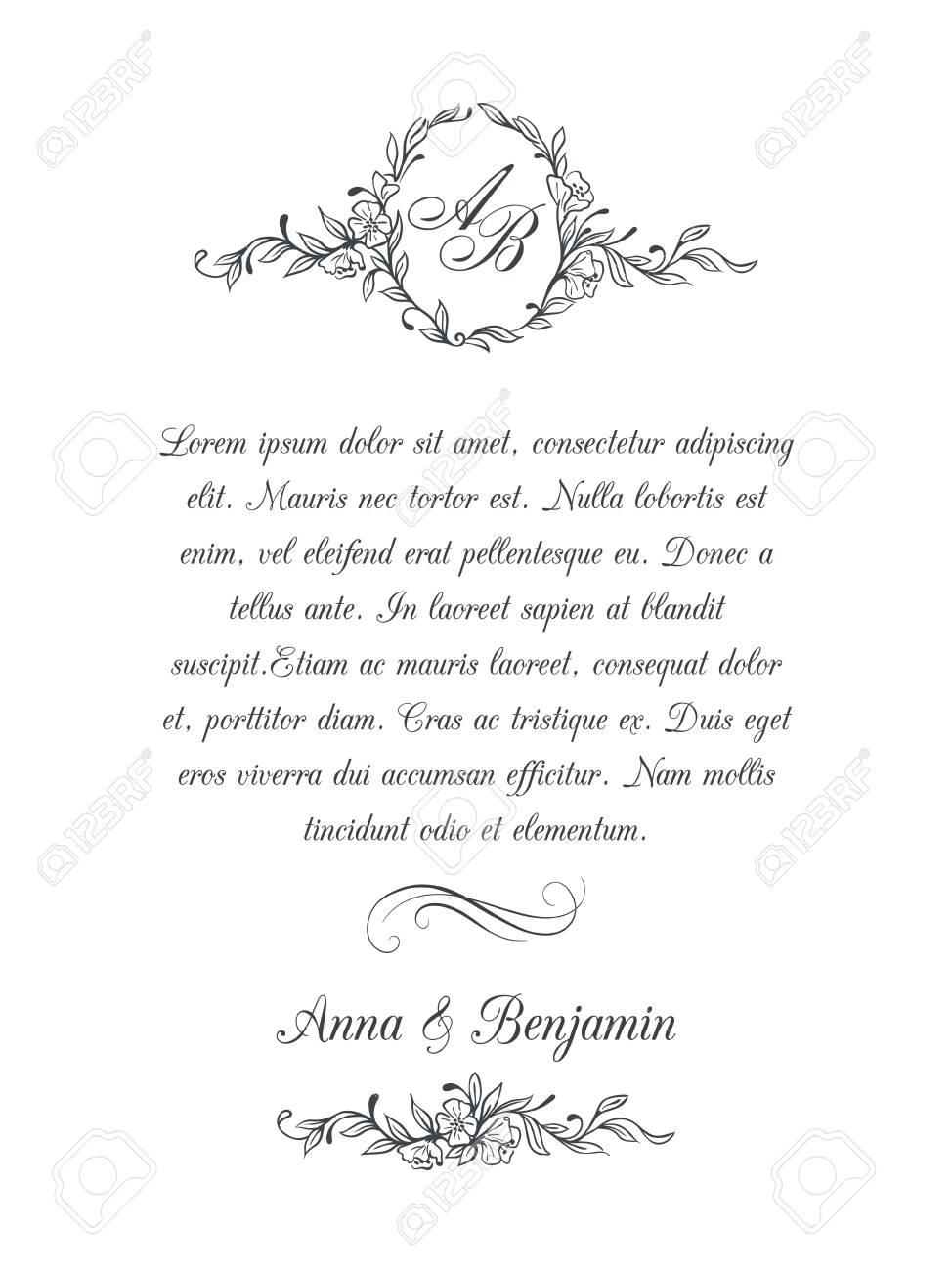 Wedding invitation with floral monogram - 134149687