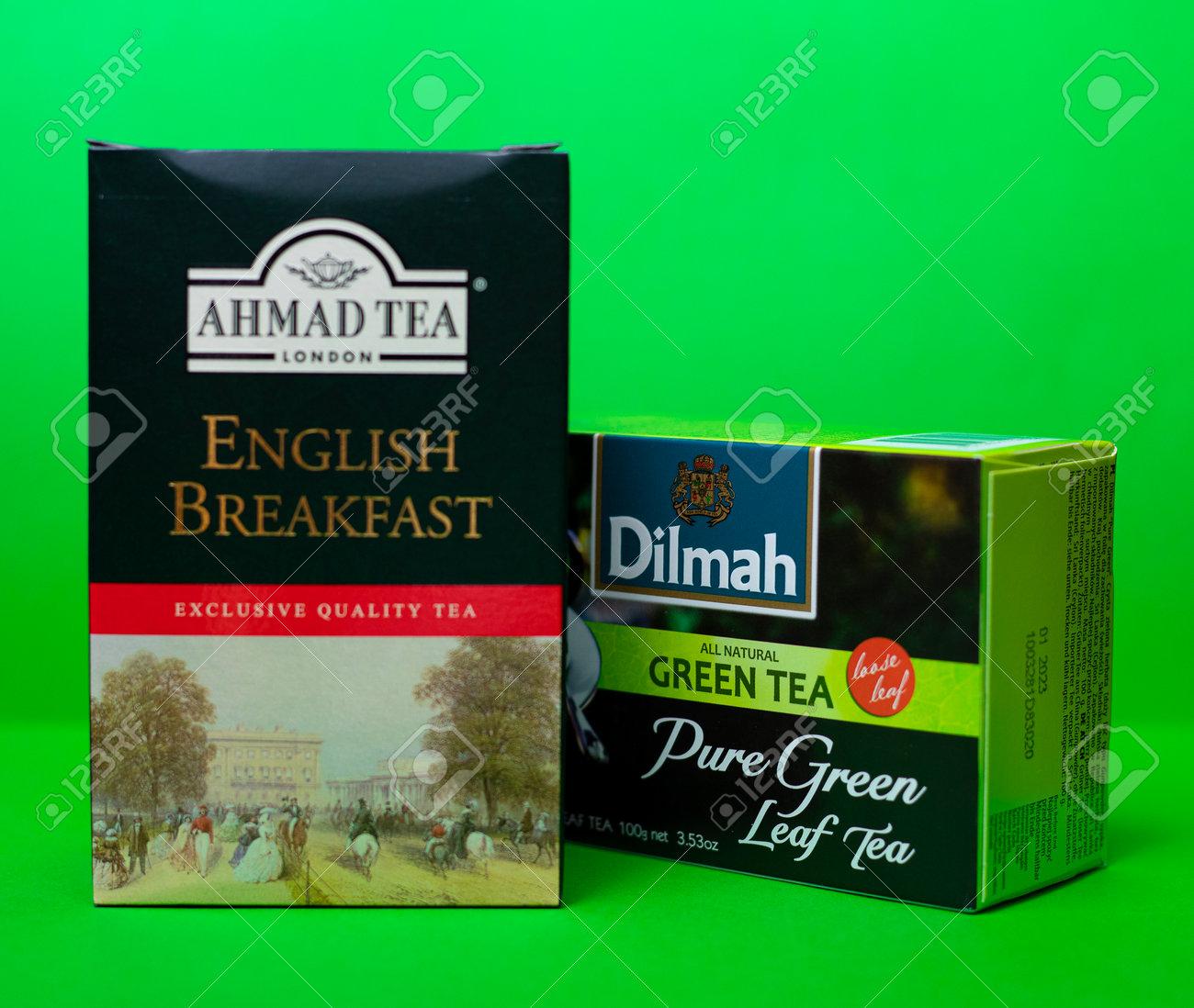 Dilmah and Ahmad tea. Natural pure green and black leaf tea. 01/06/2021. Warsaw, Poland - 162098056