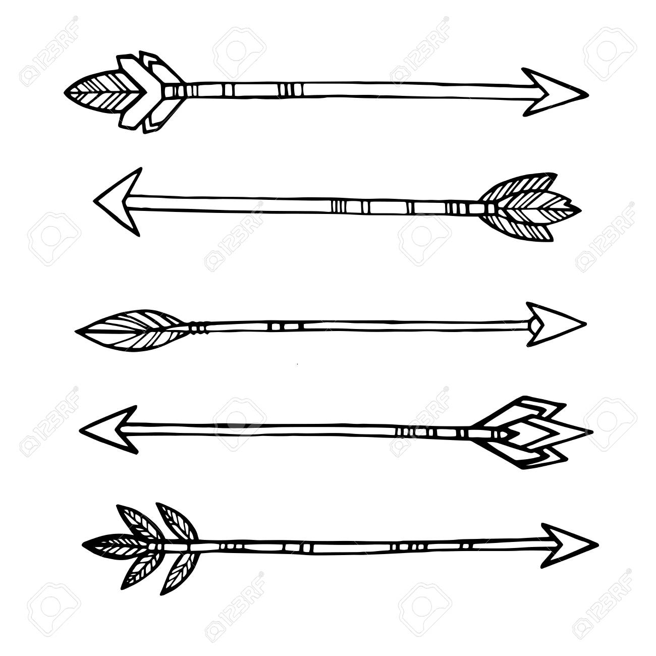 Tribal indian arrows  hand drawn decorative elements in boho