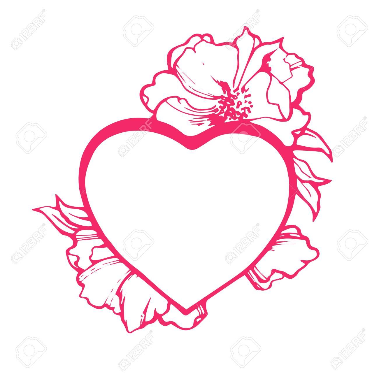 Coeur Doodle Art Isole Illustration Vectorielle Pour Cahier De