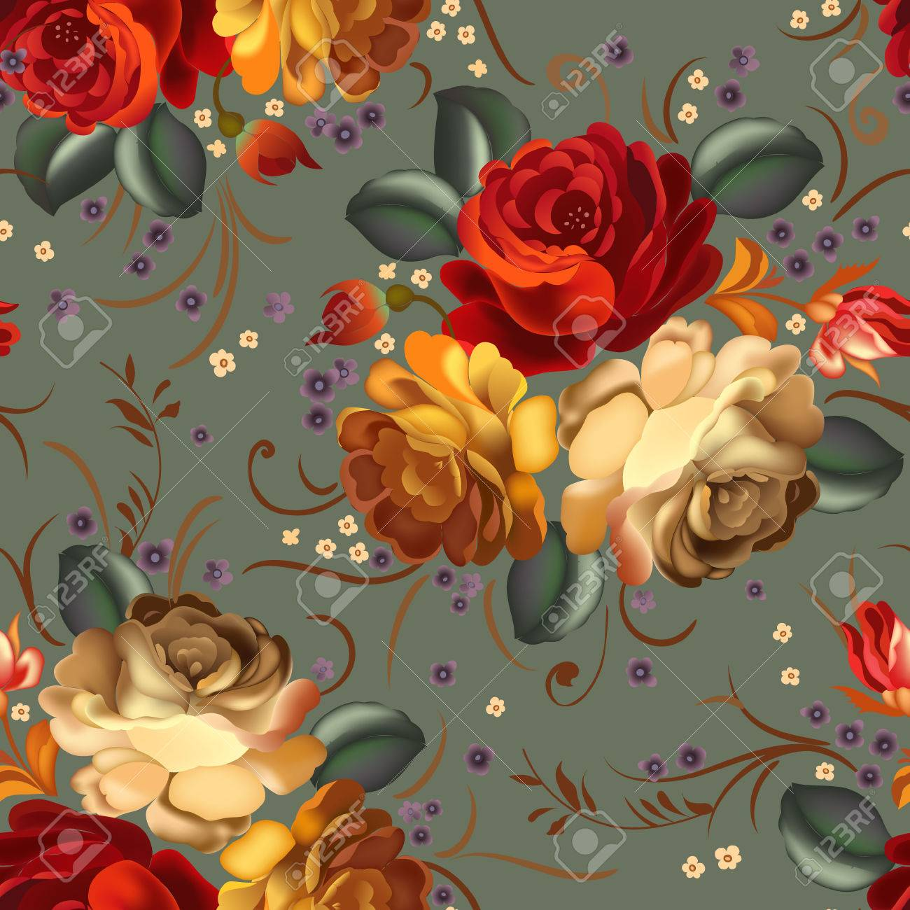Floral textile seamless pattern with beautiful vintage flowers. Vector illustration. - 51455900
