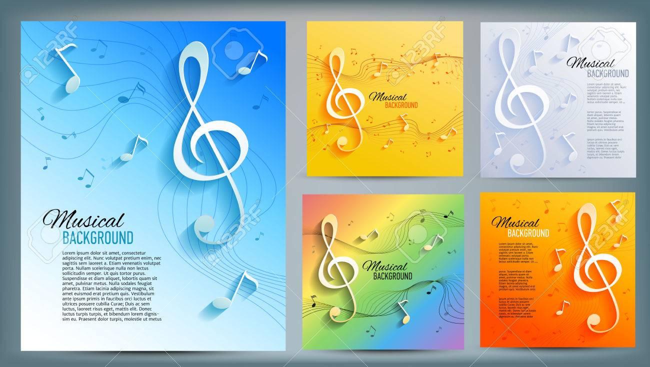 Conjunto De Banners Musicales Con Clave Musical Y Notas Y Texto ...