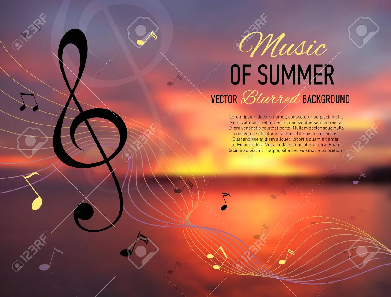 Music Banner. Seaside Blurred Background With Music Notes And.. Royalty  Free Cliparts, Vectors, And Stock Illustration. Image 60439787.