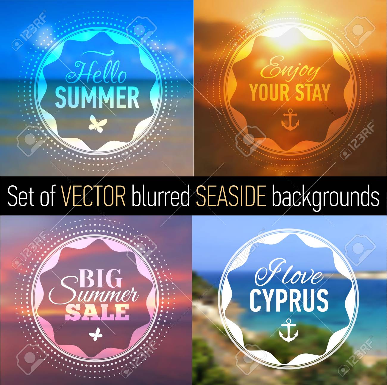 summer posters with blurred seaside background and designed text