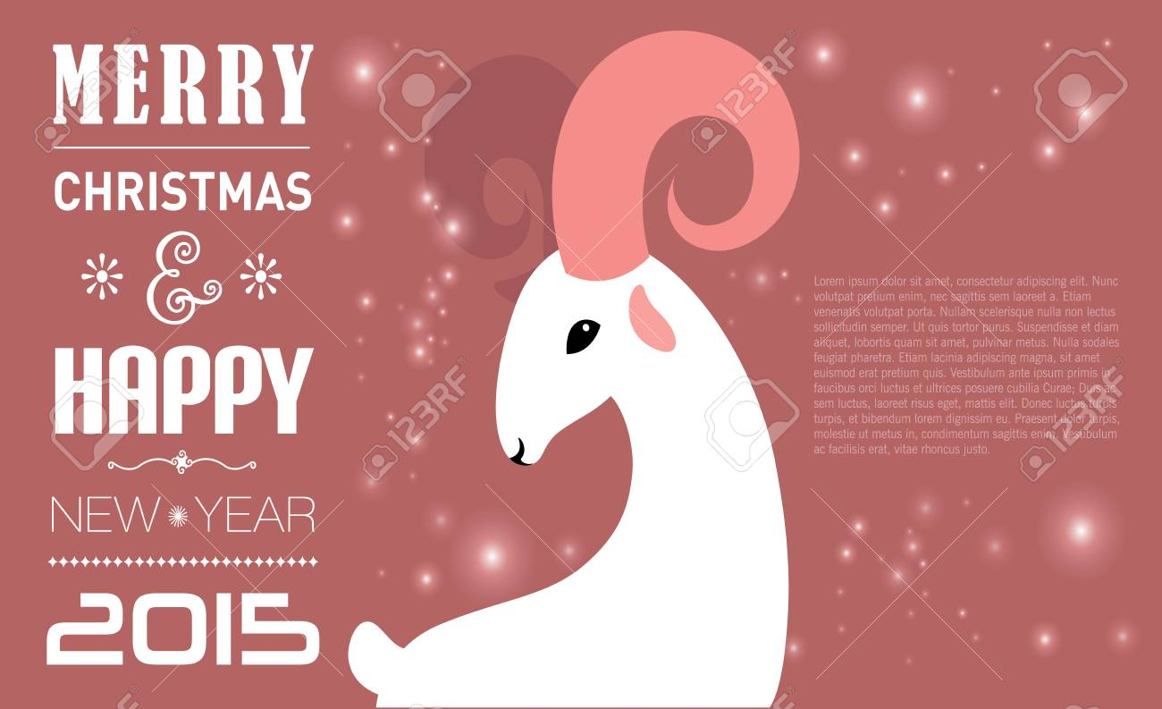 Merry Christmas And Happy New Year Card For 2015 Year Of Goat