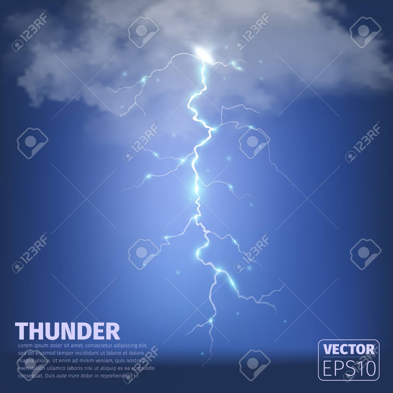 Realistic thunderstorm background with clouds  Vector illustration