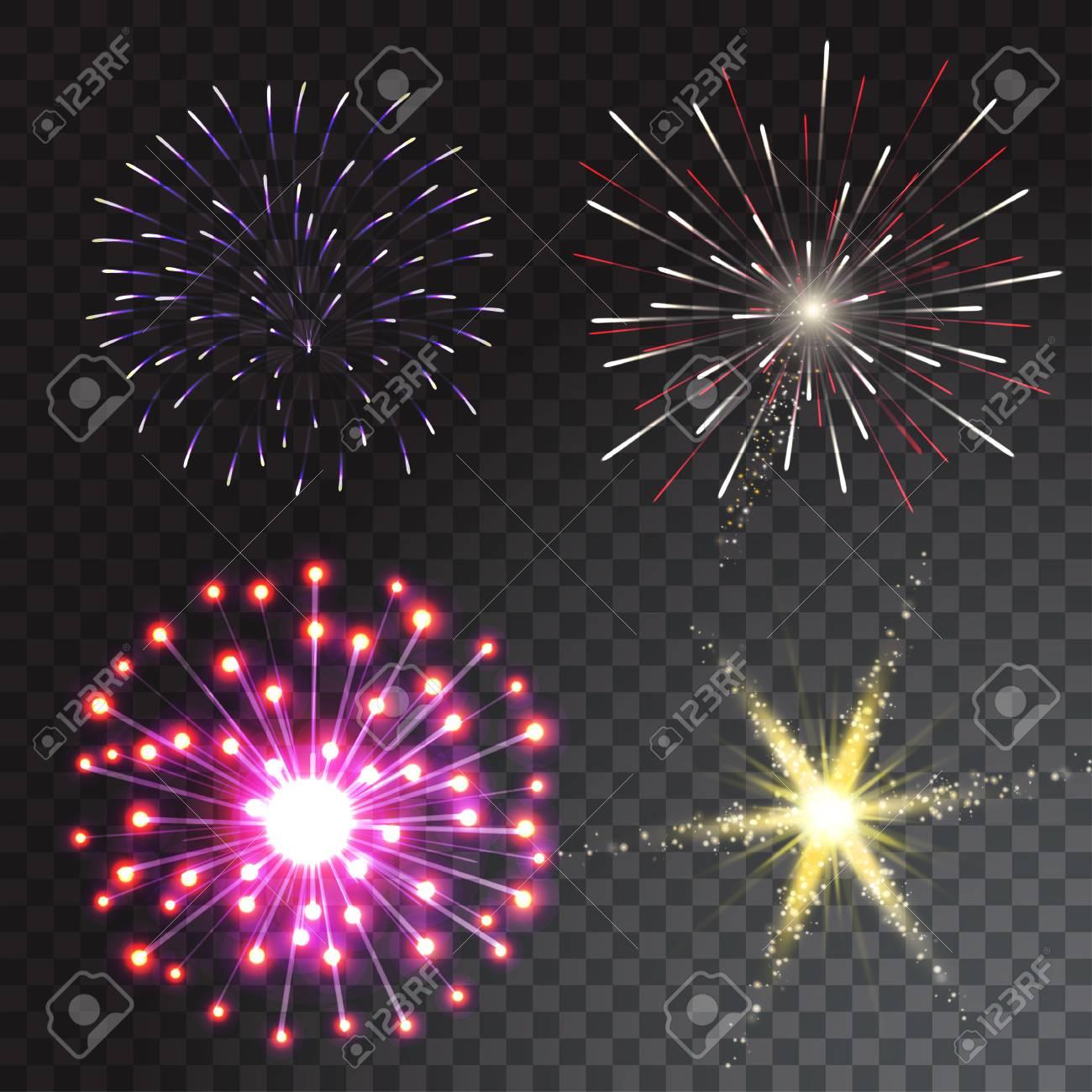 Ilustracion De Vector De Fuegos Artificiales De Colores Sobre Fondo