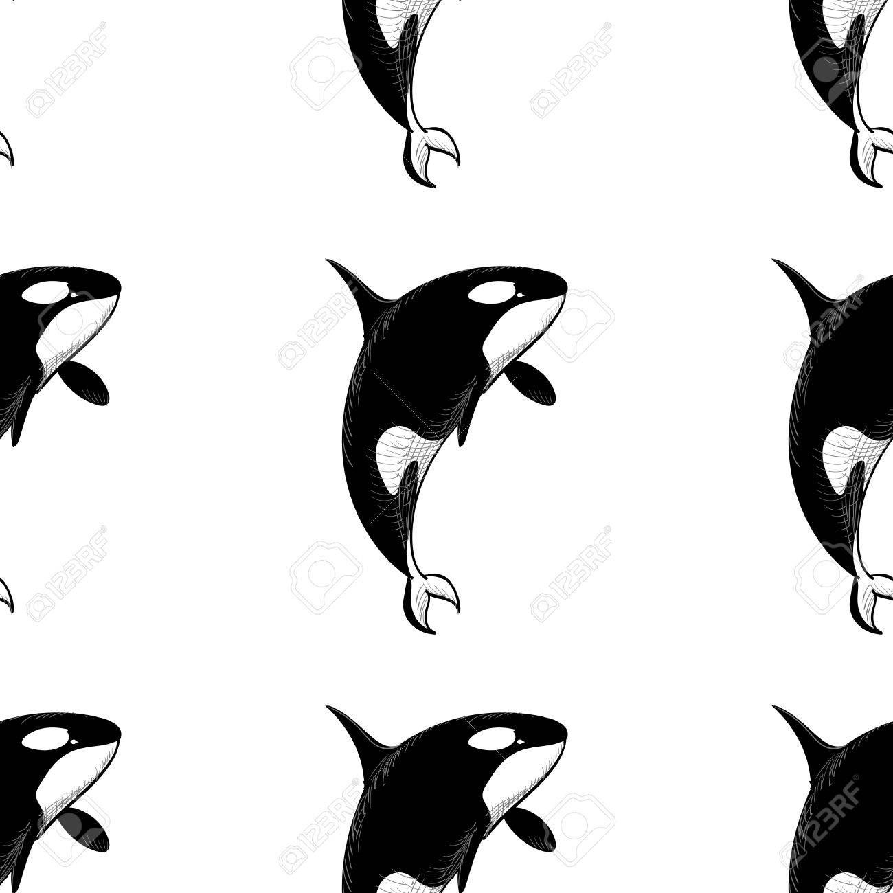 白い背景の落書きスタイルでグランパス シャチ シームレス パターン