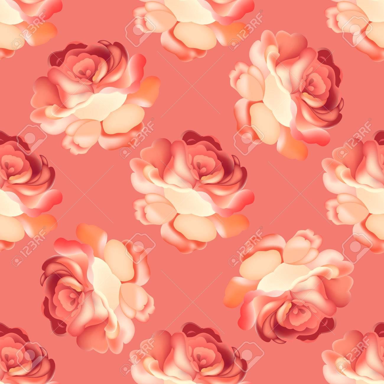 ピンクの背景に美しいバラの花とのシームレスなパターン 5 月デザイン