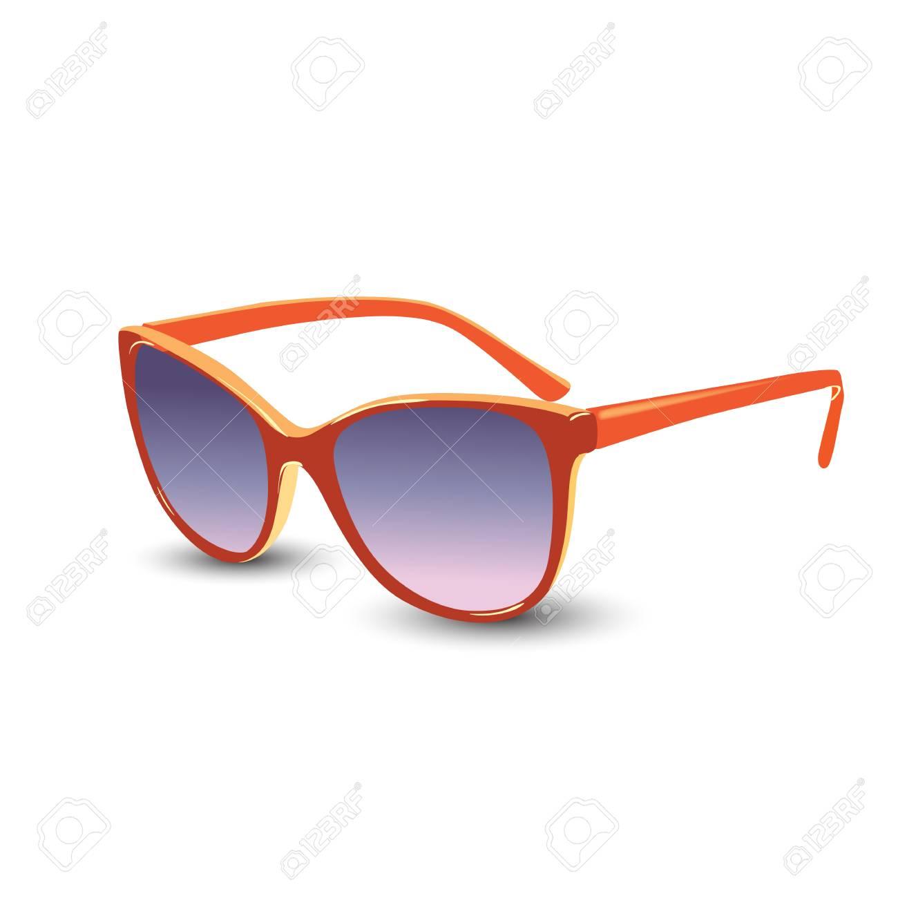 4f6bf6f343 Elegantes gafas de sol naranjas. Ilustración vectorial Foto de archivo -  92616246