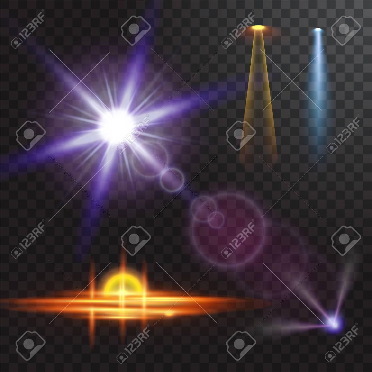 Vector Illustration Of Light Sources Concert Lighting Stage