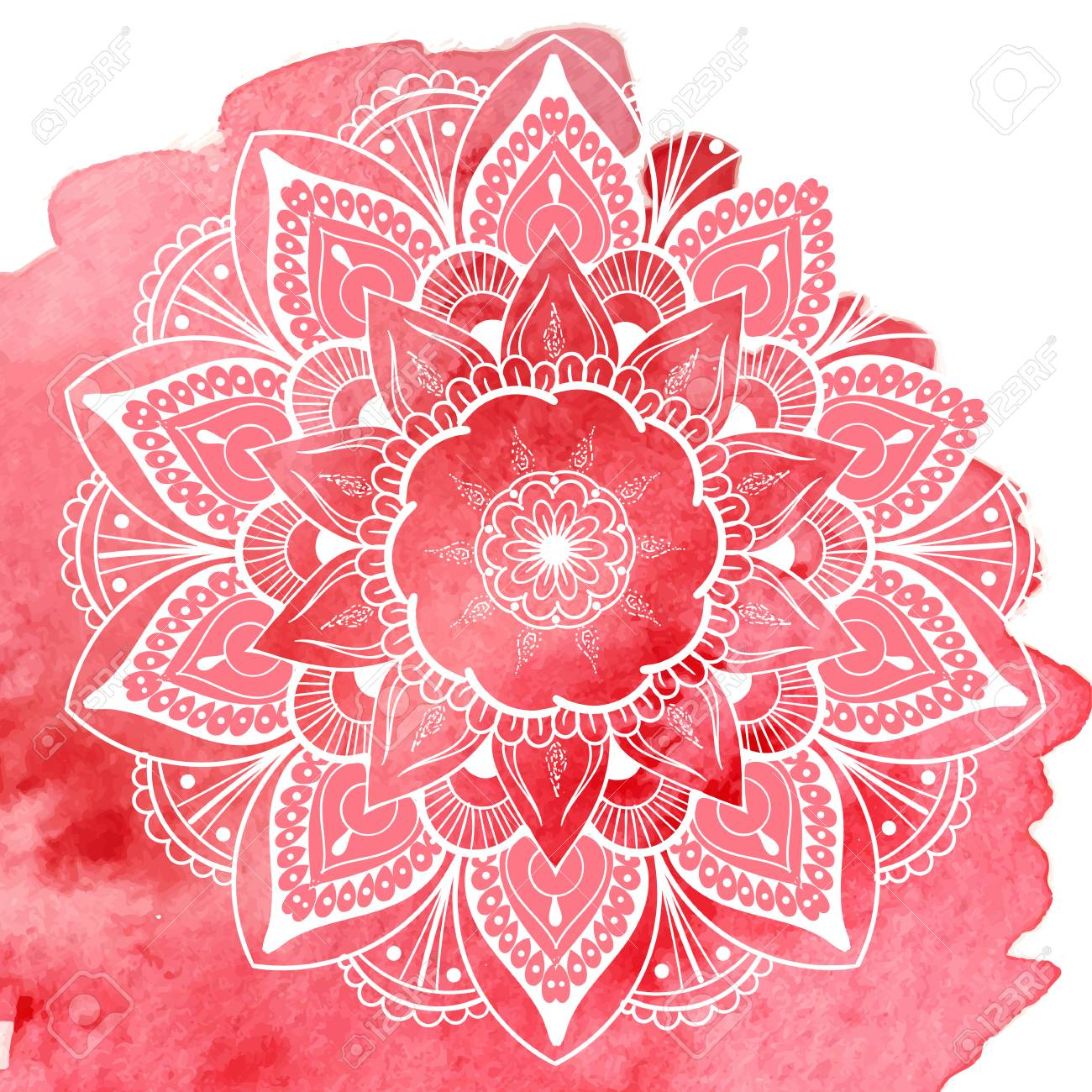 Flower Mandala. Vintage Tattoo Decorative Elements. Oriental ...