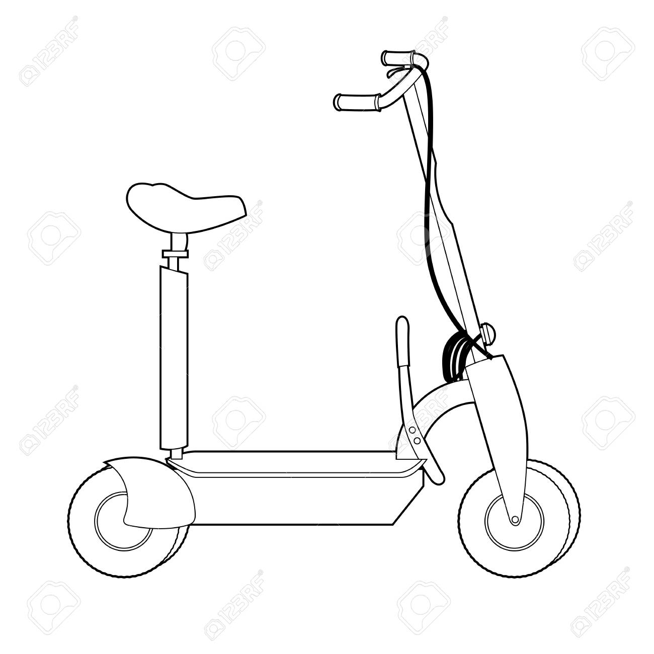 Electric Scooter Line Icon Wheel Scooter Royalty Free Cliparts Vectors And Stock Illustration Image 101064404
