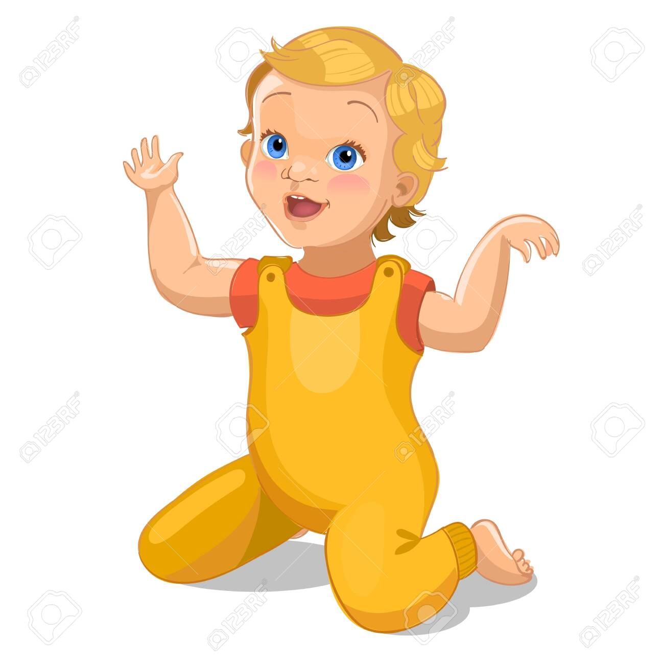 Realistic little baby in yellow suit. Cartoon baby character. Vector illustration - 124157395