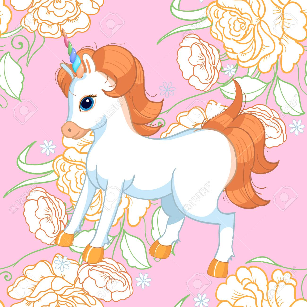 Seamless Background With Pink Roses And Cute Baby Unicorn