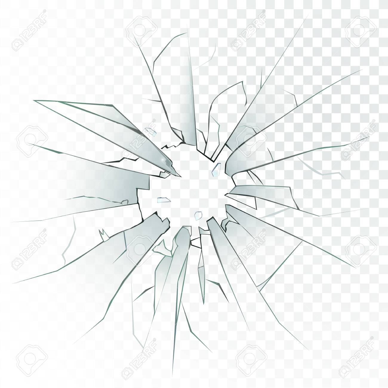 High detailed realistic broken glass isolated on transparent background. With cracks and bullet marks. Vector illustration. - 146195272