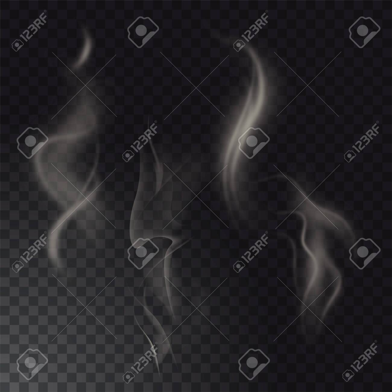 Set of high detailed smokes from hot food or drink isolated on transparent background - 150731804
